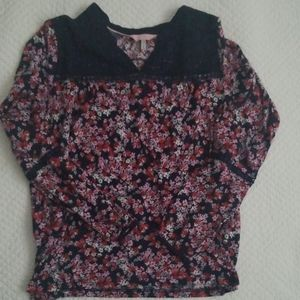 Joules knit top floral with lace yoke Navy Pink